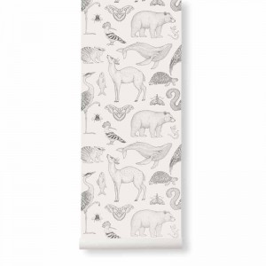 Tapeta Zwierzęta - Animals Off-White - Katie Scott - ferm Living