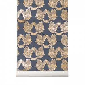 Tapeta w ptaki niebieska - Birds Deep Blue/Gold - ferm Living