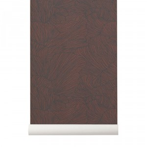 Tapeta Coral - Bordeaux/Dark Blue - koral, bordowy, ciemno-niebieski - ferm LIVING